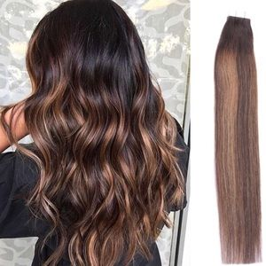 "💫KATY 18""BROWN BALAYAGE HUMAN HAIR TAPE INS NWT*"